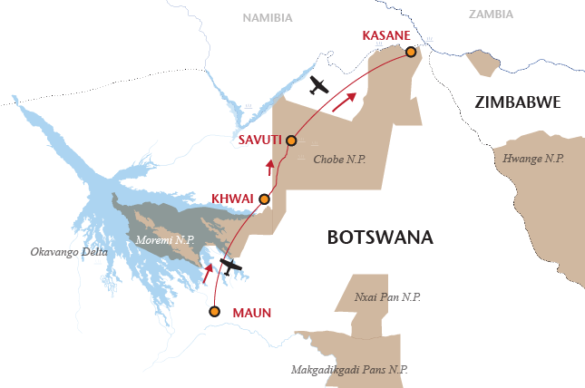 12 night Botswana moremi savuti chobe camping safari map