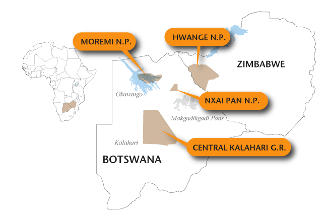 Areas for mobile safaris in Zimbabwe and Botswana